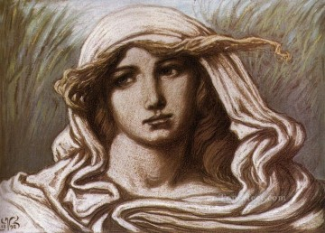Symbolism Canvas - Head of a Young Woman 1900 symbolism Elihu Vedder