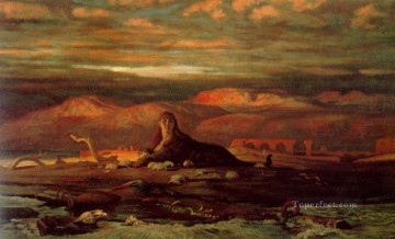 Symbolism Canvas - The Sphinx of the Seashore symbolism Elihu Vedder