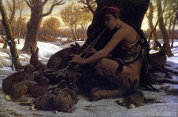 Marsyas Enchanting the Hares symbolism Elihu Vedder Oil Paintings