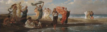 Girls Canvas - Greek Girls Bathing symbolism Elihu Vedder