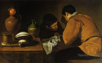 Diego Velazquez Painting - Two Young Men at a Table Diego Velozquez