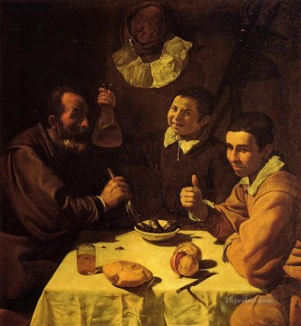 Diego Velazquez Painting - Three Men at a Table aka Luncheon Diego Velozquez