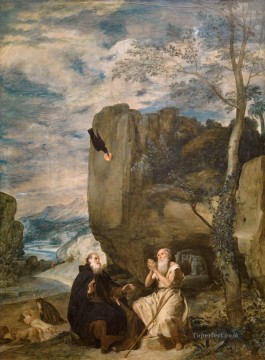 Diego Velazquez Painting - St Anthony Abbot and St Paul the Hermit Diego Velozquez