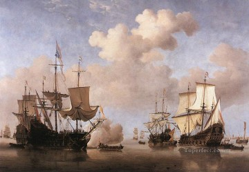 Willem van de Velde the Younger Painting - Calm Dutch Ships Coming To Anchor marine Willem van de Velde the Younger