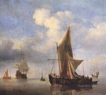 Willem van de Velde the Younger Painting - Calm Sea marine Willem van de Velde the Younger