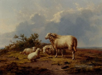 Sheep In The Meadow Eugene Verboeckhoven animal Oil Paintings