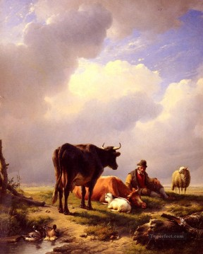 eugene - A farmer At Rest With His Stock Eugene Verboeckhoven cattle