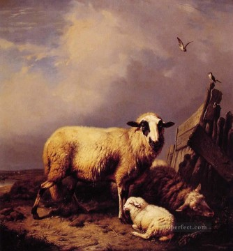 Guarding the Lamb Eugene Verboeckhoven animal sheep Oil Paintings