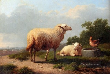 Sheep In A Meadow Eugene Verboeckhoven animal Oil Paintings
