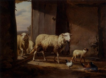 Return Art - Sheep Returning From Pasture Eugene Verboeckhoven animal