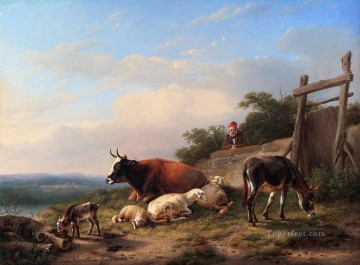 A Farmer Tending His Animals Eugene Verboeckhoven donkey Oil Paintings
