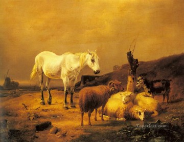 horse - A Horse Sheep And Goat In A Landscape Eugene Verboeckhoven animal