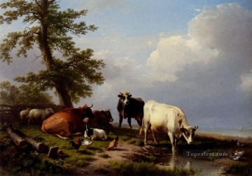 Animals Grazing Near The Sea Eugene Verboeckhoven cattle Oil Paintings