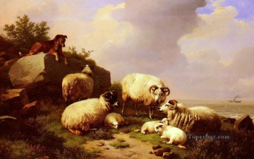 eugene - Guarding The Flock By The Coast Eugene Verboeckhoven animal sheep