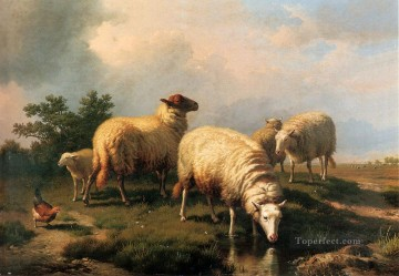 Sheep And A Chicken In A Landscape Eugene Verboeckhoven animal Oil Paintings