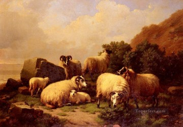 Sheep grazing By The Coast Eugene Verboeckhoven animal Oil Paintings
