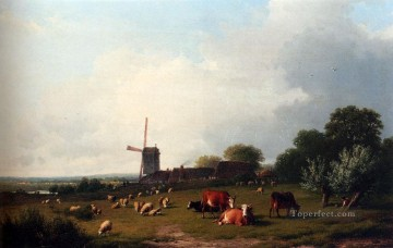 A Panoramic Summer Landscape With Cattle Grazing In A Meadow Eugene Verboeckhoven animal Oil Paintings