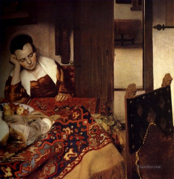A Maid Asleep Baroque Johannes Vermeer Oil Paintings