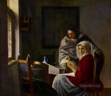 Girl Interrupted at Her Music Baroque Johannes Vermeer Oil Paintings