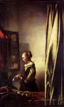 Johannes Vermeer Painting - Girl Reading a Letter at an Open Window Baroque Johannes Vermeer