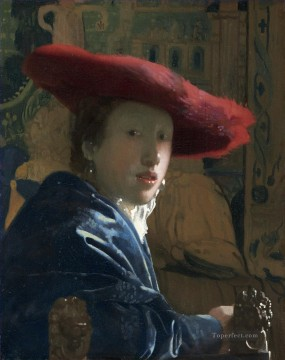 red Oil Painting - Girl with a Red Hat Baroque Johannes Vermeer