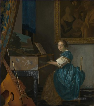 Virgin Painting - Lady Seated at a Virginal Baroque Johannes Vermeer