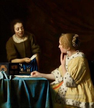 Johannes Vermeer Painting - Mistress and Maid Baroque Johannes Vermeer