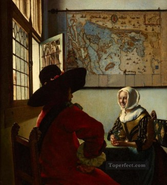 officer Oil Painting - Officer And Laughing Girl Baroque Johannes Vermeer