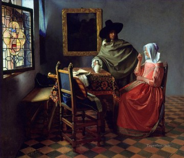 wine pub pubs folies bars nighthawks Painting - The Glass Of Wine Baroque Johannes Vermeer