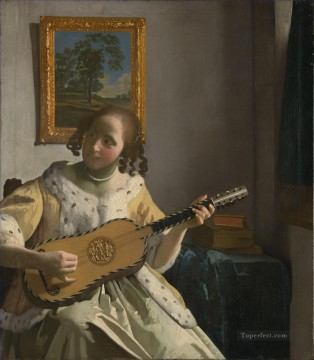 Johannes Vermeer Painting - The Guitar Player Baroque Johannes Vermeer