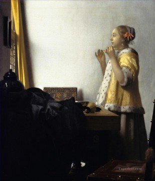 Woman with a Pearl Necklace Baroque Johannes Vermeer Oil Paintings