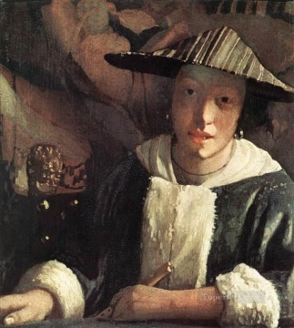 Lute Art - Young Girl with a Flute Baroque Johannes Vermeer