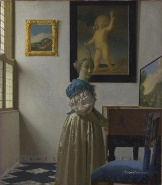 Virgin Painting - Young Woman Standing at a Virginal Baroque Johannes Vermeer