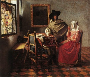 A Lady Drinking and a Gentleman Baroque Johannes Vermeer Oil Paintings