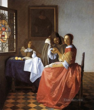 A Lady and Two Gentlemen Baroque Johannes Vermeer Oil Paintings