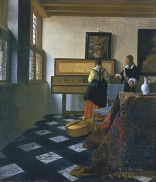 Virgin Painting - A Lady at the Virginals with a Gentleman Baroque Johannes Vermeer