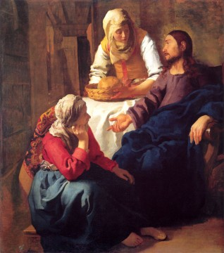 Johannes Vermeer Painting - Christ in the House of Mary and Martha Baroque Johannes Vermeer
