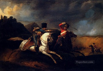 Two Soldiers On Horseback battle Horace Vernet Oil Paintings