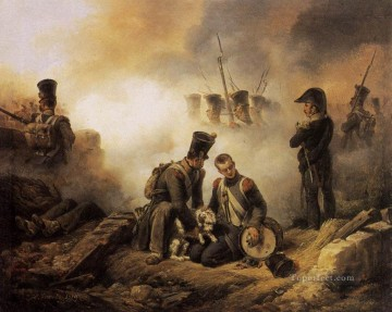 Horace Vernet Painting - The Dog Of The Regiment Wounded Horace Vernet