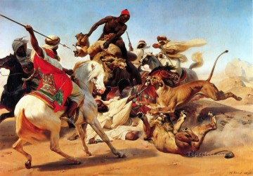 The Lion Hunt Horace Vernet Arab Oil Paintings