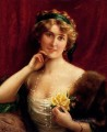 An Elegant Lady With A Yellow Rose girl Emile Vernon