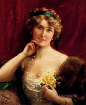 Rose Art - An Elegant Lady With A Yellow Rose girl Emile Vernon