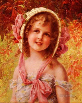 Emile Vernon Painting - The Cherry Bonnet girl Emile Vernon