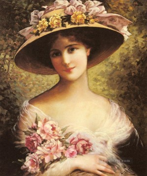 Emile Vernon Painting - The Fancy Bonnet girl Emile Vernon