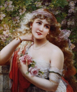 Rose Art - Young Lady With Roses girl Emile Vernon