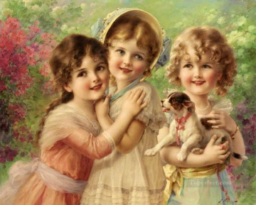 Emile Vernon Painting - Best Of Friends girl Emile Vernon