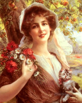 Emile Vernon Painting - Country Summer girl Emile Vernon