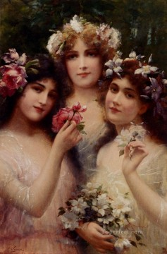 horse racing races sport Painting - The Three Graces girl Emile Vernon