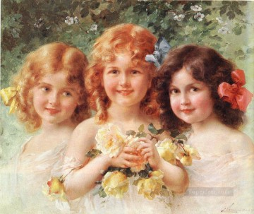 Emile Vernon Painting - Three Sisters girl Emile Vernon