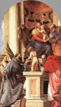 Paolo Veronese Painting - Madonna Enthroned with Saints Renaissance Paolo Veronese